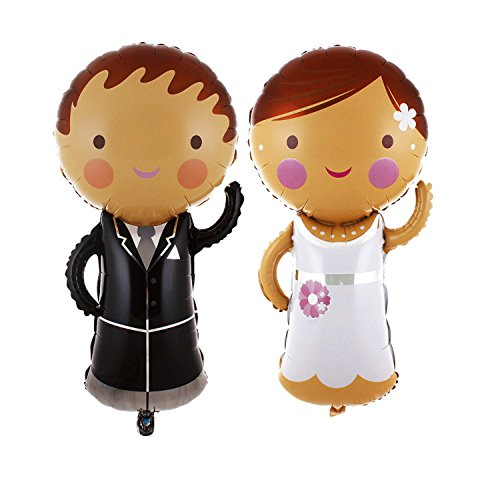 Mcolour Balloon 2 Piece 44 Inch Bride and Groom Valentine's Day/Wedding Decoration Supplies Foil Balloons,1 Pack