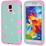 Image of Galaxy S5 Case, Galaxy SV Case, NOKEA Hybrid Heavy Duty Shockproof Full-Body Protective Case Ultra Slim Bumper Cover 3 in 1 Shield Soft TPU Hard PC Dual Layer Impact Protection (Teal Pink)