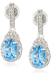Sterling Silver Swiss Blue Topaz and Created White Sapphire Earrings