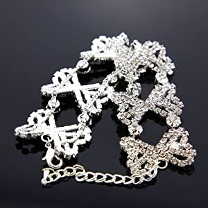 31g 7'' Bridal Jewelry Bow Crystal Rhinestone Round Stretch Bracelet Silver for Wedding, Occassional, party