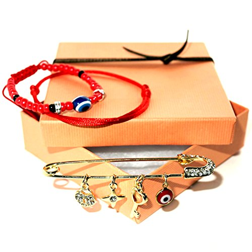 Handmade Gift Set: Gold Tone Rhinestones Brooch Safety Pin with Lucky Charms Pendants, Kabbalah Red String of Fate Bracelet, Blue Evil Eye Bracelet. Great Gift for Baby or Bridal Shower and Wedding