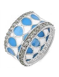 4.50Grams White Cubic Zircon .925 Sterling Silver Blue & White Enamel Ring