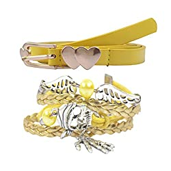Diovanni Combo of Yellow Color Bracelet and Belt For Womens