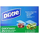 Dixie Quicktakes Disposable Food Storage Containers with Attached Lids, 25 Count