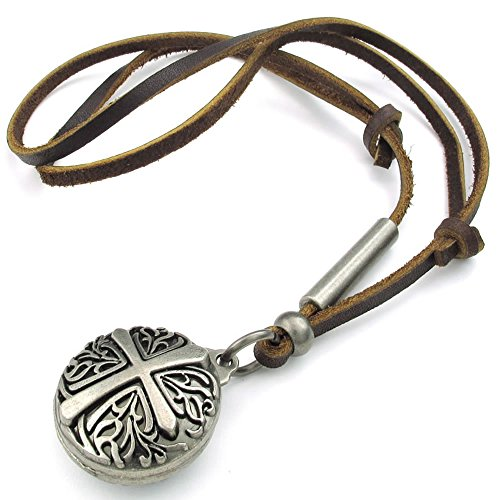 Konov Jewelry Mens Womens Celtic Cross Pendant Adjustable Leather Rope Necklace Chain, Brown