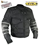 Xelement Men?s Black and Gray Level-3 Armored Jacket with Removable Arm Sleeves and Tri-Tex Fabric - Size : 3XL