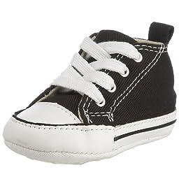 Converse Baby Boys\' Chuck Taylor First Star Hi (Infant) - Black/White - 2