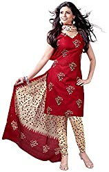 SHREENATHJI ENTERPRISE Women's Cotton Unstitched Dress Material (Red)