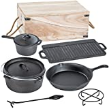 TecTake® 7 PIECE HEAVY DUTY DUTCH OVEN CAST IRON COOKWARE IN BOX