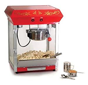 Maxi-Matic EPM-650 Elite 6-Ounce Old Fashioned Table Top Popcorn Popper Machine with Accessories, Red
