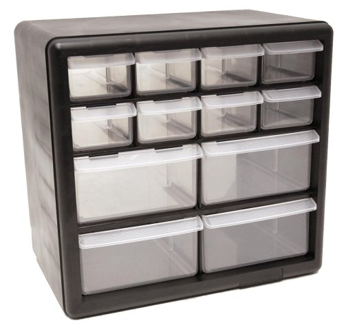 HOMAK HA01012001 12-Drawer Plastic Parts Organizer