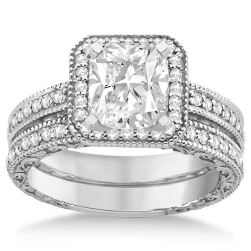Modern Square Halo Wedding Band And Diamond Engagement Ring Platinum (0.52Ct)