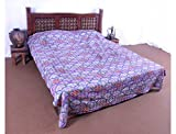 Jaipur Textile Hub Indian Tribal Kantha Quilts Vintage Cotton Bed Cover Throw Old Sari Made Assorted Patches Made Rally Whole Sale Blanket - Blue, SD_JTH_114_TR