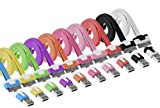 Salsar 10pcs/lot 10 Colors Colorful 1m 3ft Long Flat USB Data Sync Charging Cable Cord for Iphone 4 4s Ipod