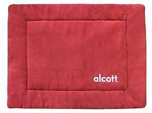 Alcott Essentials Fleece Crate Mat, Medium, Red and Grey