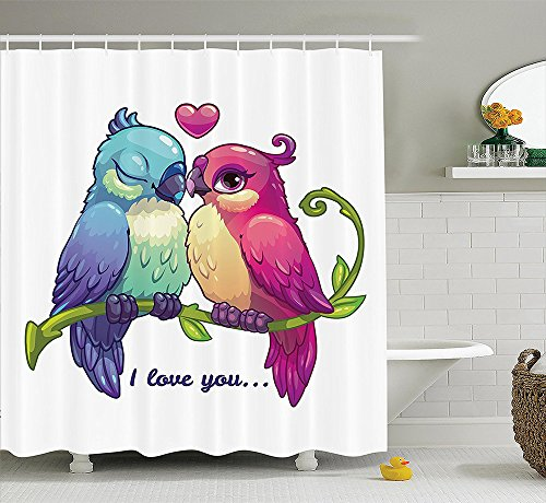 [Animal Decor Collection Parrot Couple on the Branch with Heart Symbol Deep Intimate Mutual Feelings Art Work Polyester Fabric Bathroom Shower Curtain Set with Hooks Pink Teal] (Parrot Costume Ebay)