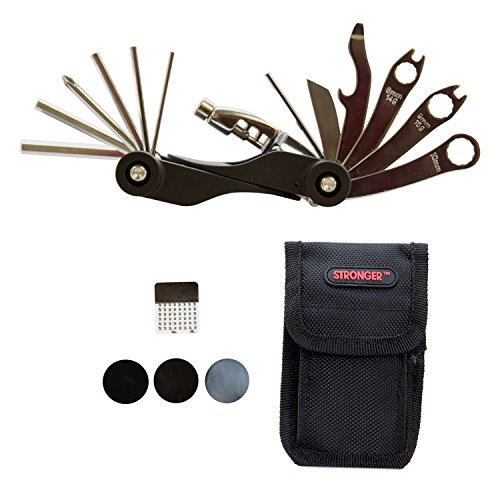 Strongrr Multi Bike Tools 20 Functions for Huffy Company Men's Cruiser Good Vibrations Bike, Warm Metallic Silver, 26-Inch with Tire Patch Nylon Bag Cycling Maintenance Repair Tool Kit