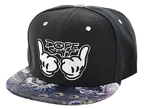 Cappellino snapback di colori e motivi diversi con scritta cappello hip hop cap basecap baseballcap con visiera piatta e chiusura regolabile berretto unisex uomo donna giovani adulti, Snapsbacks CAP-80-115:Cap-111 Dope Shit nero bianco