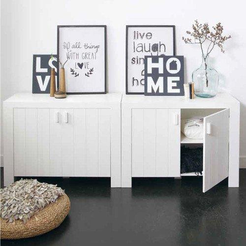 Sideboard / Kommode MIAMI, Kiefer gebürstet, weiß, 2-türig, 110x47x80cm online bestellen