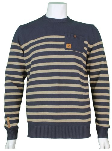 New Kangol Mens Crew Neck Knitted Jumper, In Navy With Cement Stripe Size Large - Style Wick - K604382