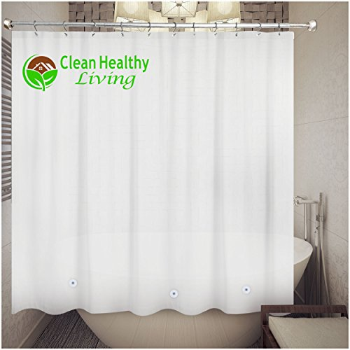 Clean Healthy Living 70x71-Inch PEVA Shower Curtain Liner, White (Cotton Shower Curtain Liner compare prices)