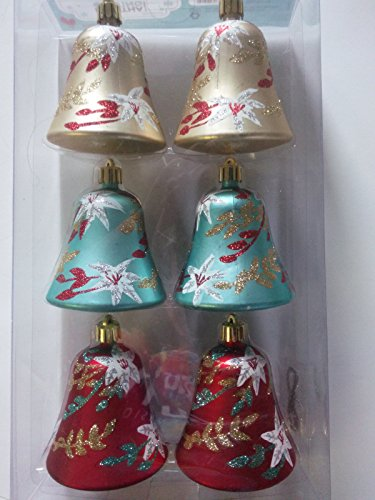 3 in. Bell Ornament with Amaryllis Pattern (Set of 6)
