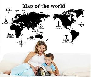 "YUPENGDA® 55""*31.5"" Map of World Trip Vinyl Mural Art Wall Sticker Decals Decor for Living Room/world Trip Wall Stickers/removable DIY World Trip Map Art Wall Decor Sticker Decal Mural from YUPENGDA®"