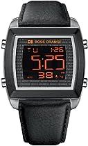 Hugo Boss Orange Digital Dial Black Leather Mens Watch 1512609