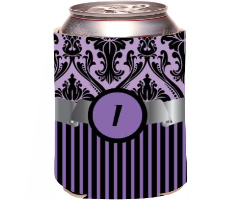 "Rikki Knight Beer Can Soda Drinks Cooler Koozie, Letter ""I"" Initial Monogrammed Design, Damask And Stripes, Purple front-645237"