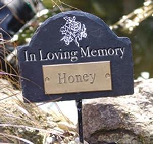 Natural Slate Pet In Loving Memory Headed Memorial Plaque