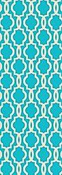 Custom Size Light Blue Fancy Moroccan Trellis Rubber Backed Non-Slip Hallway Stair Runner Rug Carpet 31 inch Wide Choose Your Length 31in X 12ft