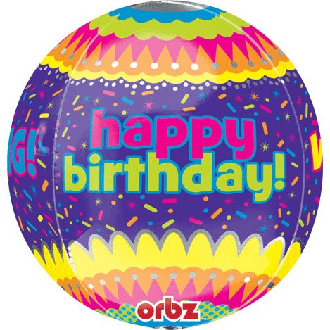 Happy Birthday Confetti Orbz Balloon-1 piece - 1