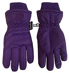 N\'Ice Caps Kids Bulky Thinsulate and Waterproof Ski Glove With Ridges (8-10yrs, Dark Purple)