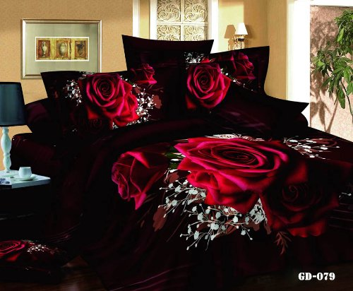 Queen King Size 100% Cotton 7-Pieces 3D Red Roses Wine Red Brown Floral Prints Fitted Sheet Set With Rubber Around Duvet Cover Set/Bed Linens/Bed Sheet Sets/Bedclothes/Bedding Sets/Bed Sets/Bed Covers/ Comforters Sets Bed In A Bag (King) front-895662