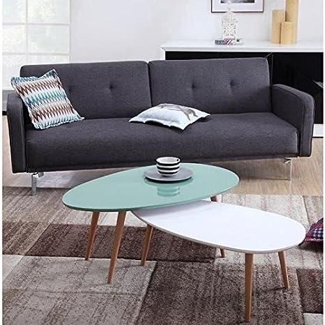 STONE Table basse scandinave laquée vert menthe avec pieds en bois massif - L 98 x l 61 cm