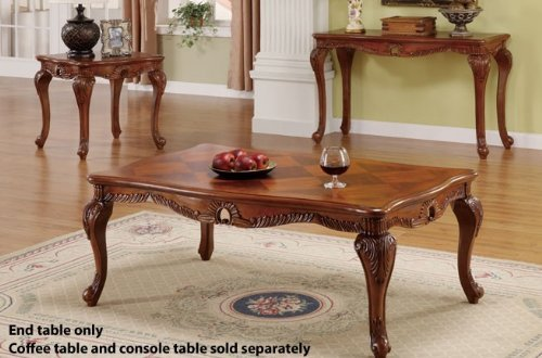 Cheap End Table with Carved Leaf Accent in Brown Finish (VF_F6235)