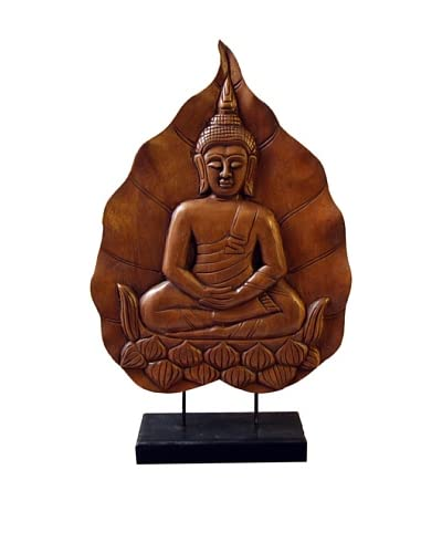 Asian Art Imports Carved Buddha Meditating on a Lotus Flower