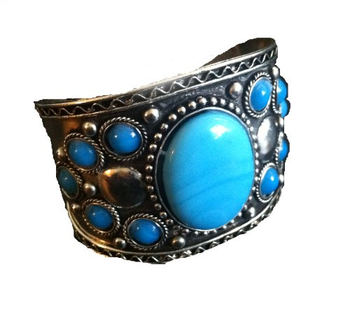 Turquoise Cuff Bracelet ,Silver Tribal Cuff,ethnic