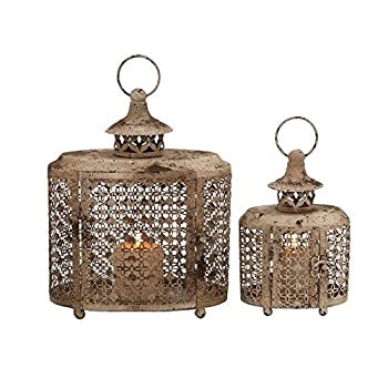 Deco 79 52979 Metal Candle Lantern Set of 2
