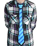 The ThinkGeek 8-bit Tie One Size Fits All Clip On Blue