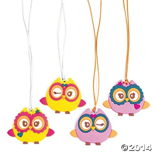 Rubber Cute Owl Necklaces (12 pc)