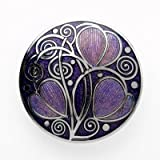 Brooch - Rennie Mackintosh Leaves & Coils Design - Purple & Silver