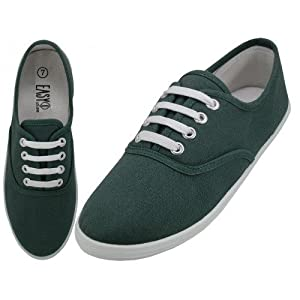 Easy USA - Womens Canvas Lace Up Shoe with Padded Insole Hunter Green-10