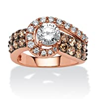 2.53 TCW Round Cubic Zirconia and Chocolate Cubic Zirconia Ring in Rose Gold over Sterling Silver