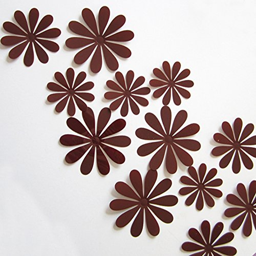 ufengke® 12-Pcs 3D Flowers Wall Stickers Fashion Design DIY Flowers Art Decals Crafts Home Decoration, Brown (Brown Flower Wall Decal Stickers compare prices)