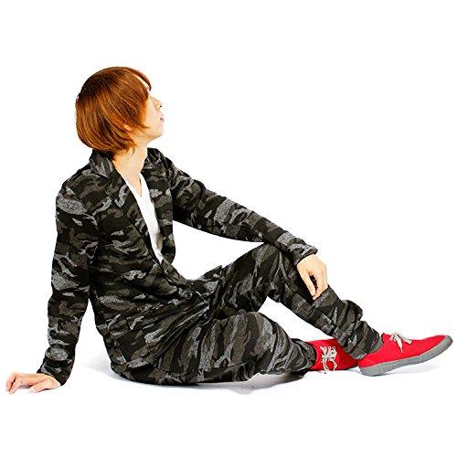 テーラードジャケット & スウェットパンツ セットアップ メンズ 2点SET カモフラ 迷彩 スライバーニット フリース