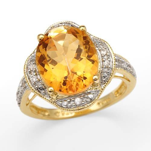 Cocktail Ring With 5.17ctw Cubic zirconia and Topaz Gold plated Silver (Size 7)
