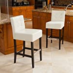 Best Selling Theodore Tufted Leather Back Bar Stools,White