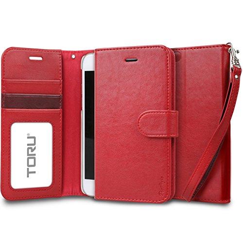 iPhone6s ケース「iPhone6 ケース」手帳型「人気」スタンド 機能「カード収納 スイカ」プレミアム合成皮革「フリップケース」落下防止用 ストラップ付き「アイフォン6sケース」アイフォン6ケース「スマホケース」おしゃれ‐レッド「TORU」