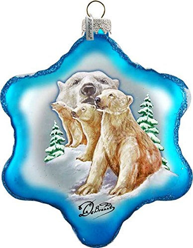 """Polar Bear 6"""" Led Light Glass Starflake; Handcrafted Old World Christmas Gallery Collection For The Tree."""